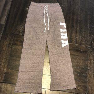 Pink Victoria Secret Lace Up Front Sweatpants